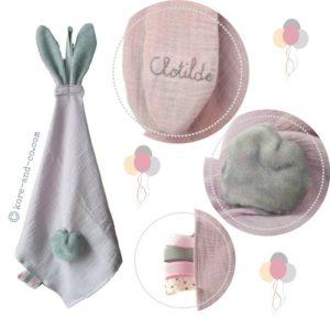 2 Doudous lange avec oreilles de lapin. Personnalisé  …. RESERVE Garance et Clotilde