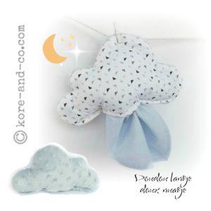 Doudou nuage  tissu coton motif triangle, dos minky et lange gris.Unique et original . Fait main.