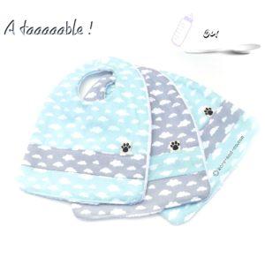 Bavoirs bébé, grand confort ,tissu coton oeko tex doublé éponge velours, lot de trois.
