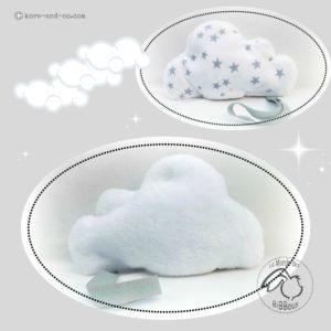 Doudou lange nuage en tissu coton étoile ,dos teddy avec lien attache sucette.original et unique .Fait main.