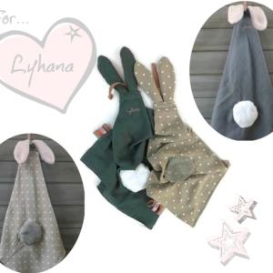 2 Doudous lange avec oreilles de lapin. Personnalisé  …. ♥♥♥RESERVE Lyhana ♥♥♥