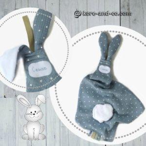 Doudou  oreilles de lapin, tissu double gaze de coton RESERVE❀❀❀ CESAR ❀❀❀