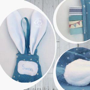 Doudou  oreilles de lapin, tissu double gaze de coton RESERVE❀❀❀  SWAN ❀❀❀