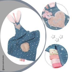 Doudous lange avec oreilles de lapin. Personnalisé  …. RESERVE bébé Eva
