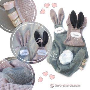 Doudous  oreilles de lapin, tissu double gaze de coton RESERVE❀❀❀ JEANNE ❀❀❀