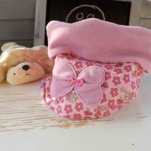 Snood Hiver, rose à fleurs .Tissu coton et polaire .Pour enfant  4 ans et plus.