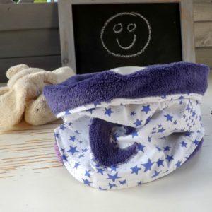 Snood Hiver lune dans les étoiles.Tissu coton et teddy .Pour enfant  6 ans et plus.