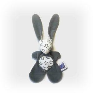 Doudou lapin plat gris et blanc motif étoiles.Unique , original, fait main.