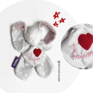 Doudou lapin gris et rose, étoiles blanches. Brodé main , original et unique.