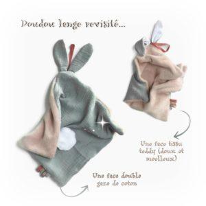 Doudou  oreilles de lapin, tissu double gaze de coton doublé Teddy doux et moelleux.Gris et rose , fait main , unique et original.