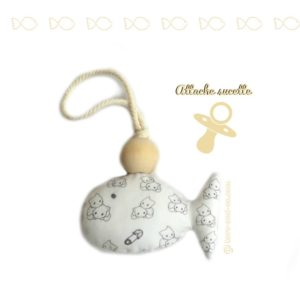 Attache sucette poisson blanc motif chats .