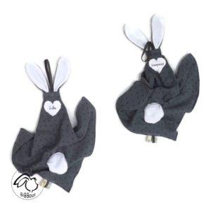 Doudou  oreilles de lapin, tissu double gaze de coton RÉSERVÉ ❀❀❀ Aude M❀❀❀