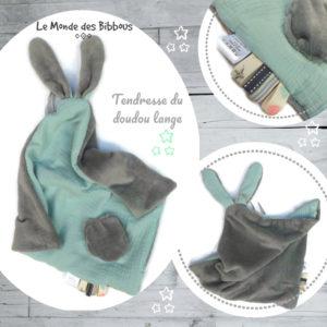 Doudou  oreilles de lapin, tissu double gaze de coton doublé Teddy doux et moelleux .Vert d'eau et gris, fait main , unique et original.