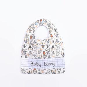 Bavoir bébé évolutif  0/24mois, motifs lapins multicolores.