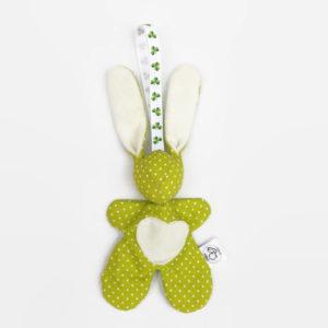 """Lapin de décoration""""Minibbou"""" vert et blanc."""