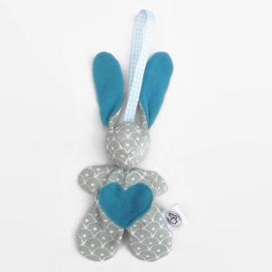 """Lapin de décoration""""Minibbou"""" gris et bleu"""