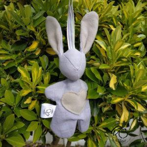 """Lapin de décoration""""Minibbou"""" gris et taupe."""