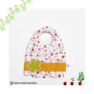 Bavoir bébé évolutif  0/24mois, coton motifs fleurs doublé éponge.