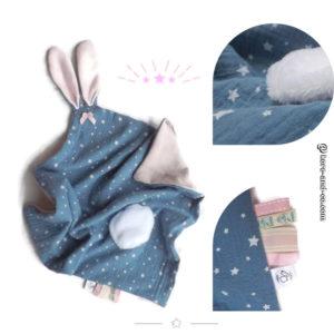 Doudou  lapin double gaze tissus Oeko tex♥♥♥ Réservé Mona♥♥♥.