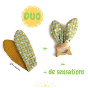 Jouet dentaire pour bébé. 2 jeu oreilles de lapin en  tissus coton multicolore,jaune moutarde sur anneau de bois chat.