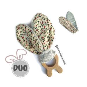 Jouet dentaire pour bébé. 2 jeu oreilles de lapin, tissu motif uni vert pâle, gris et à fleurs.Forme lapin.