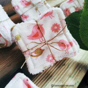 Lot de lingettes lavables tissu coton doublé éponge réservé Nathalie A.