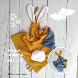 Doudou lapin double gaze de coton personnalisé pour BB «Lizio».