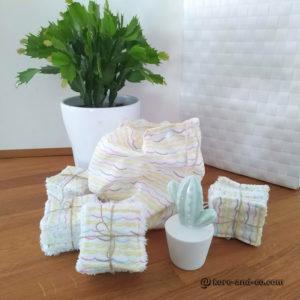 Lot de 40 lingettes lavables tissu coton doublé éponge et son sac de rangement  réservé Nathalie A.