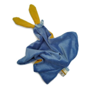 Doudou lapin double gaze de coton. Jaune Safran et bleu. fait main .