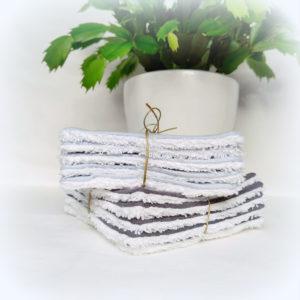 Lot de 30 lingettes lavables tissu lange de coton doublé éponge  réservé Nathalie A.