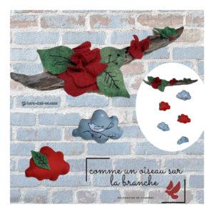 Coffret Naissance unique et originale avec nid douillet, coussin nuage, doudou et décoration murale.Tons gris et brique.