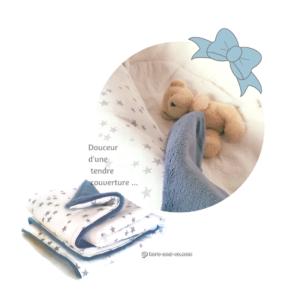 Couverture  naissance en lange de coton blanc étoile grises doublée teddy bleu épais et moelleux. ( Oeko tex)