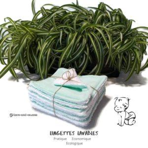 Lot de 7 lingettes lavables réutilisables en tissu 100% coton lange vert et éponge blanche.
