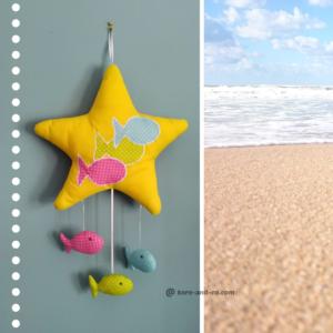 Décoration chambre d'enfant étoile et poissons en tissu.Fait main . Made in France .