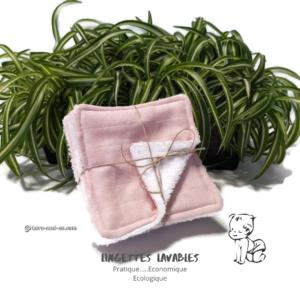 Lot de 7 lingettes lavables réutilisables en tissu 100% coton lange rose et éponge blanche.