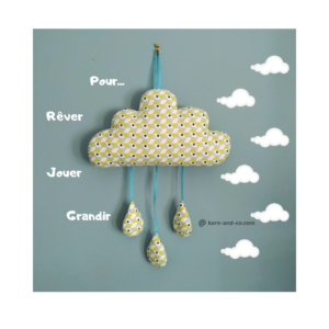 Décoration chambre d'enfant nuage couleur vert anis et bleu turquoise .fait main . made in France