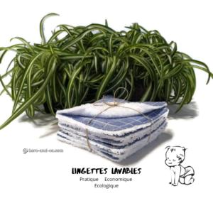 Lot de 7 lingettes lavables réutilisables en tissu 100% coton lange bleu jean et éponge blanche.
