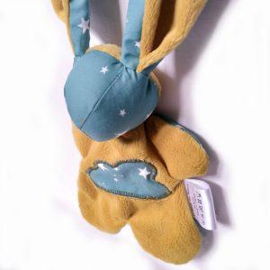 Doudou lapin étoile en tissu bleu turquoise et jaune moutarde, unique et original. Fait mains.