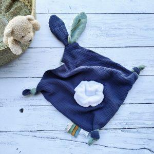 Doudou  lange double gaze de coton vert et bleu, commande personnalisée . Réservé Mlle YUSHKA.