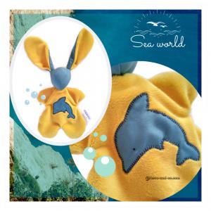 Doudou lapin en tissu jaune moutarde et bleu.Tissus Oeko tex coton et velours. Unique, original fait mains.