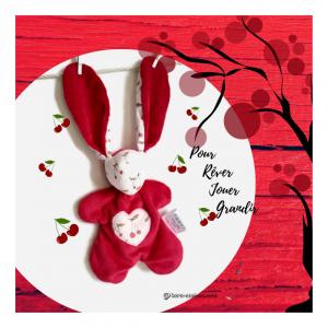 Doudou lapin en tissu rouge et blanc.Tissus Oeko tex coton et velours.Motif cerises, unique, originale fait mains.