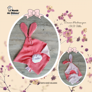 Doudou  lapin double gaze rose .