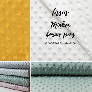 Doudou lapin  bleu et gris.Tissus Oeko tex coton pois blanc et Minkee Polyester . Unique, original fait mains.