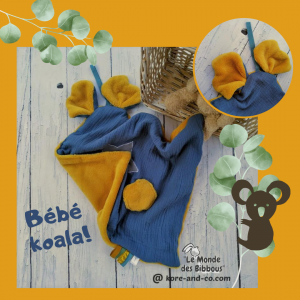 Doudou koala lange. Multi sensoriel en tissus Oeko Tex.Original fait mains.Personnalisé.