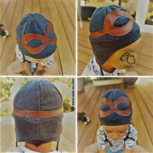 Bonnet d'aviateur , pilote de course pour enfant, en tissu doublé. Sur commande , à personnaliser.
