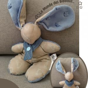 Doudou lapin en tissu bleu et taupe avec bandana. Fait main .Original et unique .