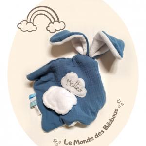 Doudou lapin pour bébé. bleu et blanc , unique fait main.