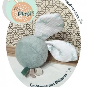 """Jouet d'éveil multi sensoriel sonore pour bébé .Balle vert d'eau et oreilles lapin licorne…""""Plopi Licorne"""""""