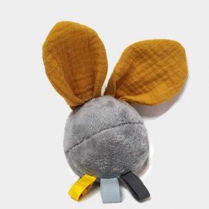 """Jouet d'éveil multi sensoriel sonore pour bébé .Balle grise et oreilles lapin moutarde…""""Plopi pim"""""""