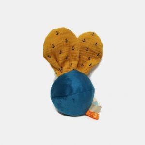 """Jouet d'éveil multi sensoriel sonore pour bébé .Balle bleu et oreilles lapin ancre marine…""""Plopi marin""""."""